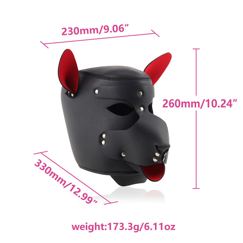 BDSM Puppy Play Bondage PU Leather Dog Headmask with Collar & Leash