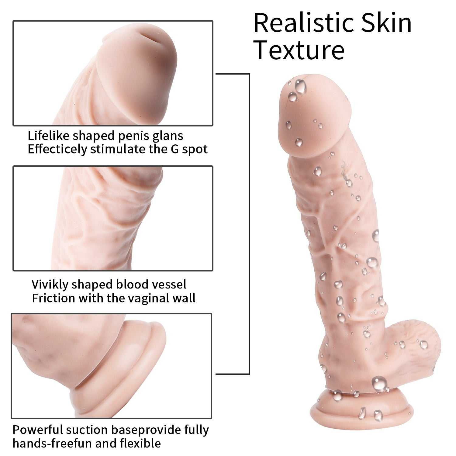 MD 20cm Realistic Silicone Dildo with Suction Cup Flesh&Black
