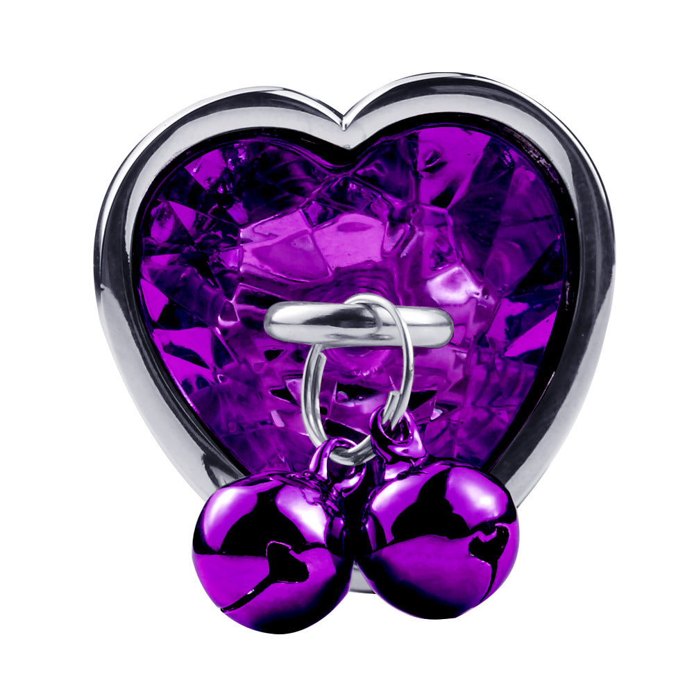 RY Heart Shape Crystal Jeweled Stainless Steel Anal Plug with Bell & Leash - Purple S/M/L