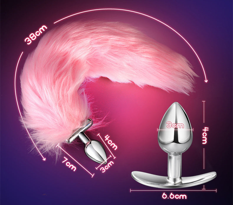 RY LED Lighting Fox Tail Stainless Steel Anal Plug Butt Plug Furry Tail Cosplay 3 Colors x 2 Size