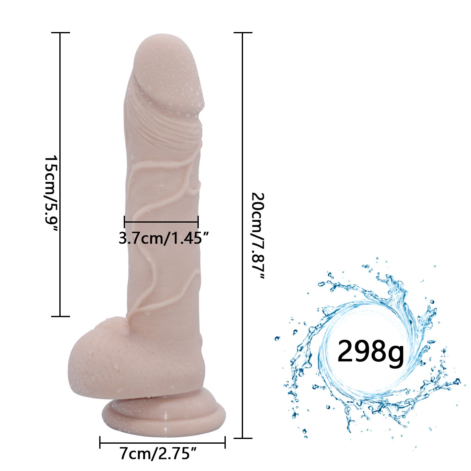 MD 23cm Realistic Dildo Dong Strap on Silicone Penis Cock