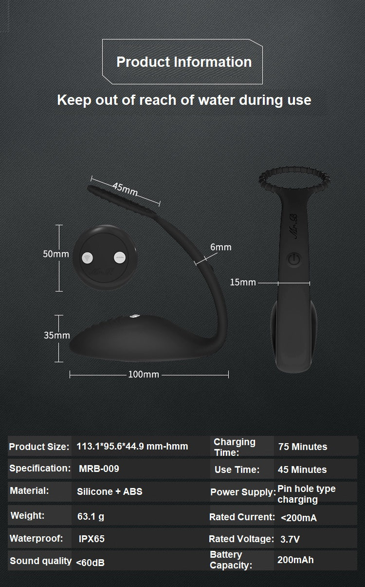 WOWYES Electric Shock Remote Control Prostate Massager Impulse Penis Cock Ring