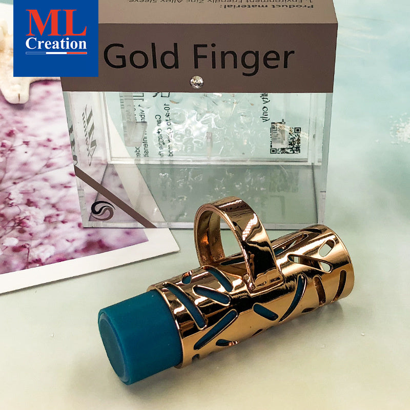ML Creation Gold Finger 10 Modes Ring Vibrator Clitoral Stimulator Discreet Zinc Alloy Jewerly