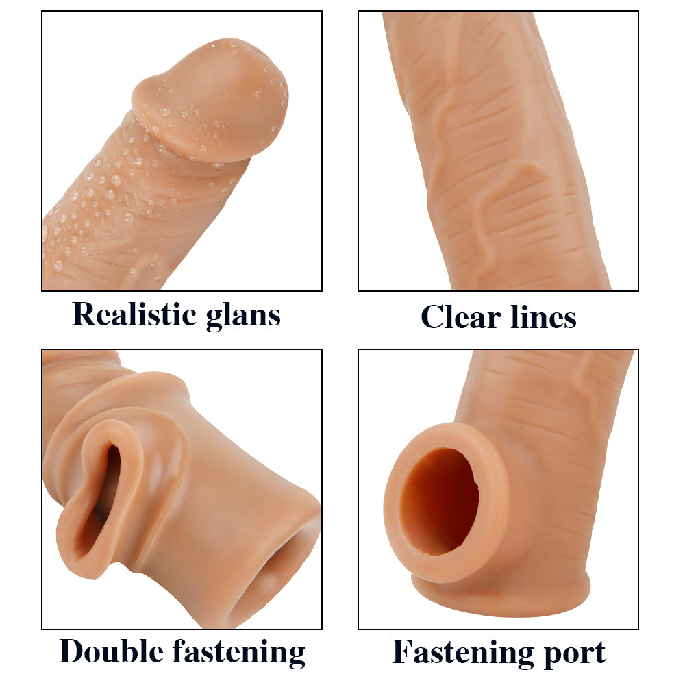 MD M4 Realistic Silicone Penis Sleeve Cock Extender / Add 1.97 inch