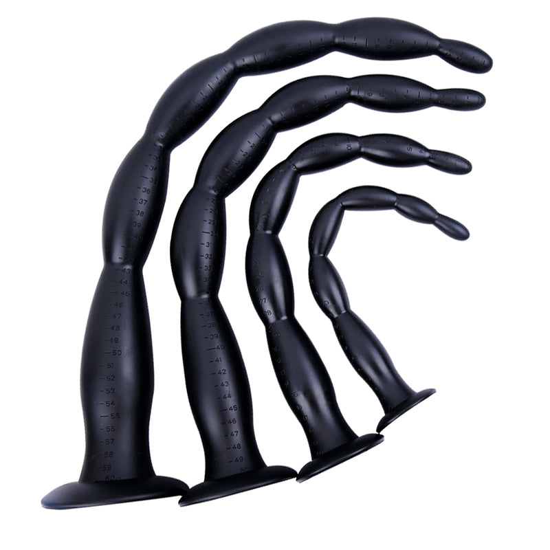 MD Dragon Beads Extremely Long Anal Snake Anal Plug - Silicone Colon Snake - Black / 4 Size 30cm-60cm