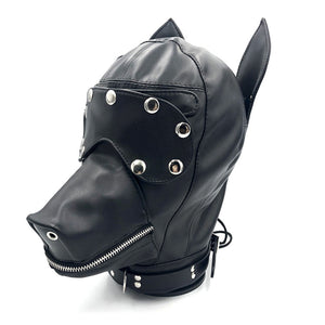 BDSM Puppy Pup Play Hood Leather Head Dog Mask Bondage