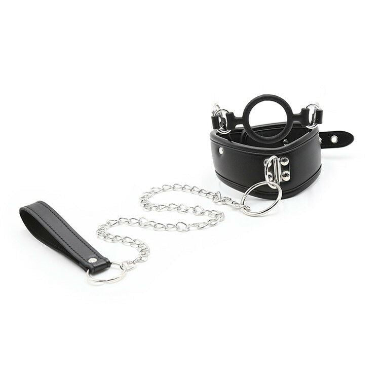 BDSM Mouth Gag Ring Collar & Leash Chain Restraints