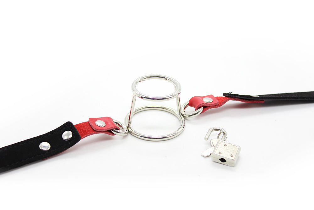 BDSM Metal Mouth Gag Adjustable PU Leather Belt