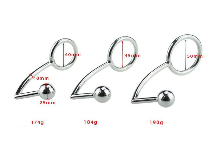 RY Stainless Steel Anal Plug & Cock Ring Penis Ring Anal Hook with Ball