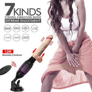 DIBE Remote Contral Realistic Dildo Telescopic Sex Machine Auto Thrusting & Heating Vibrator