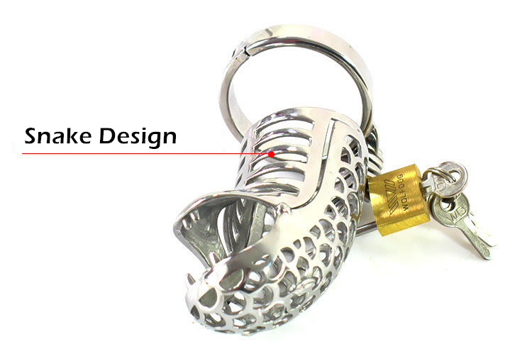 LHD Snake Design Metal Male Chastity Cage Penis Cage Cock Cage / 3 Ring Size