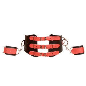 BDSM PU Adjustable Waist Corset Wrist Cuffs Restraint