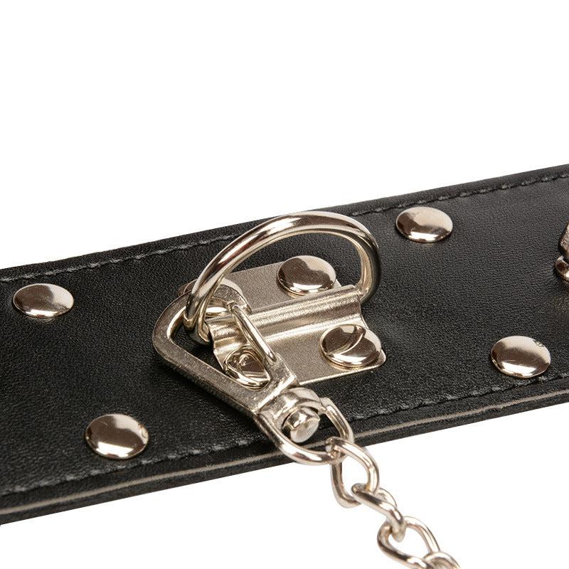 BDSM Leather Nail Collar Restraints Adjustable Spikes