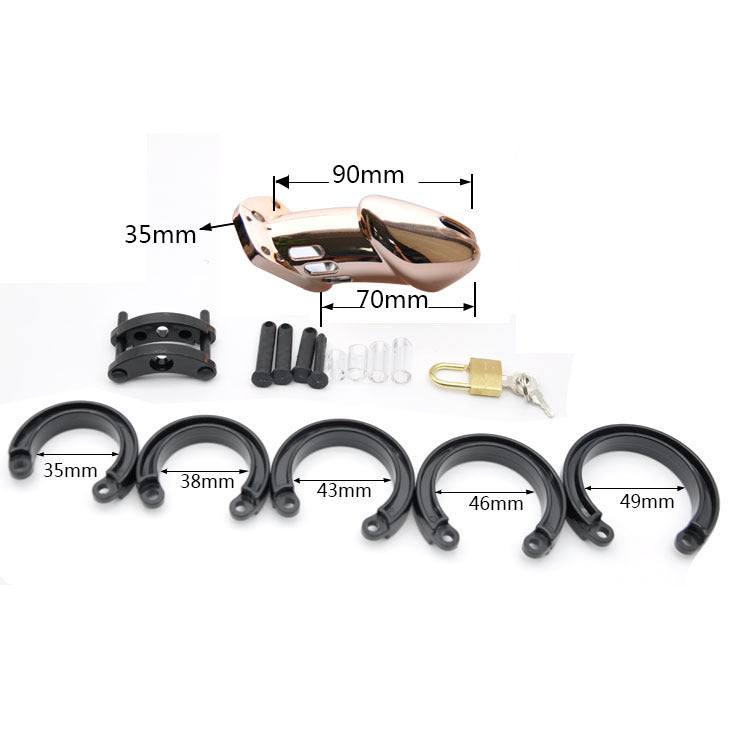 IMPRISON BIRD Delxue ChromeMale Chastity Cage Kit Penis Cage 5 Rings Set / Rose Gold / 2 Size