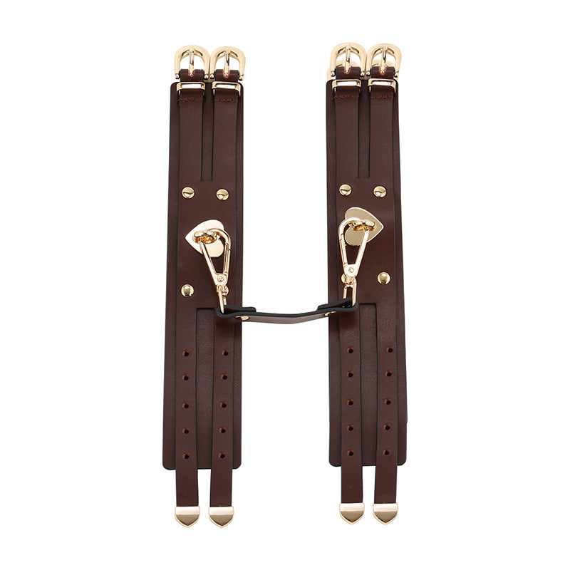 RY Premium Real Leather Bondage Set With Bag - 8 Pce BDSM Set Brown