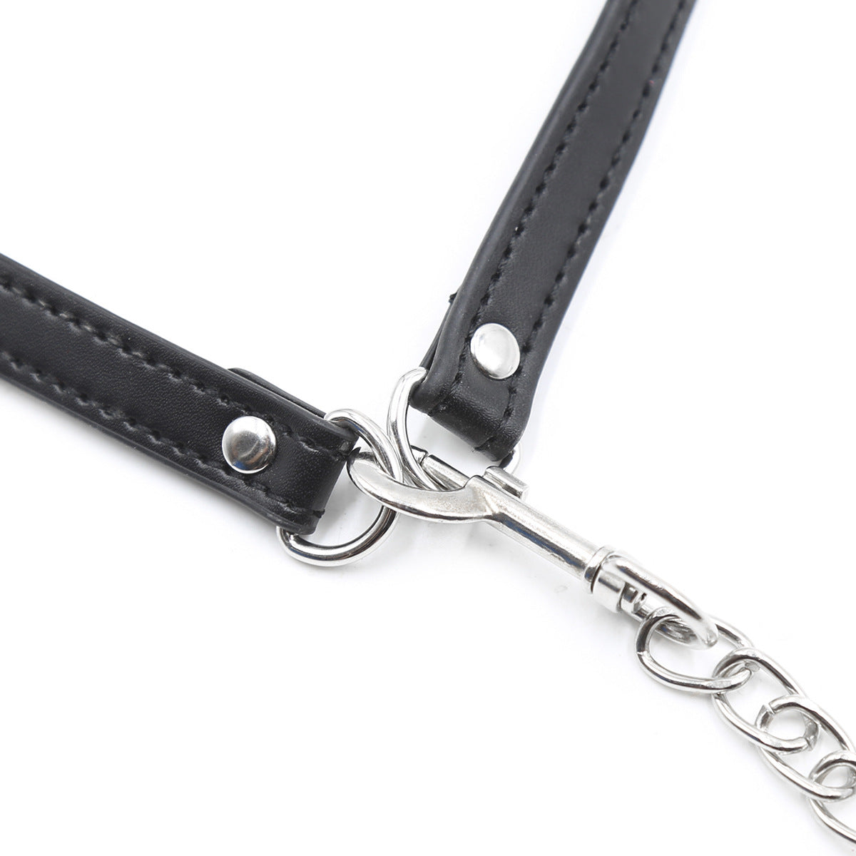 Fetish Mouth Gag Collar & Leash Chain Bondage Restraints Set
