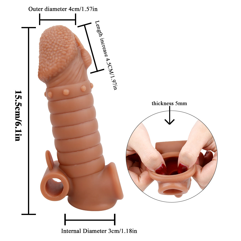 MD M1 Realistic Silicone Penis Sleeve Cock Extender / Add 1.97 inch / Vibe & Normal