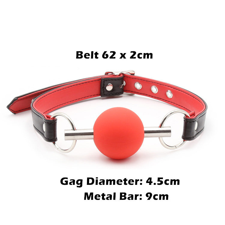 BDSM Silicone Mouth Gag Adjustable PU Leather Belt