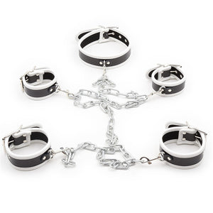 Solid Iron Chain Handcuffs Ankle Cuffs Collar Bondage Kit Fetish Restraint Set BDSM