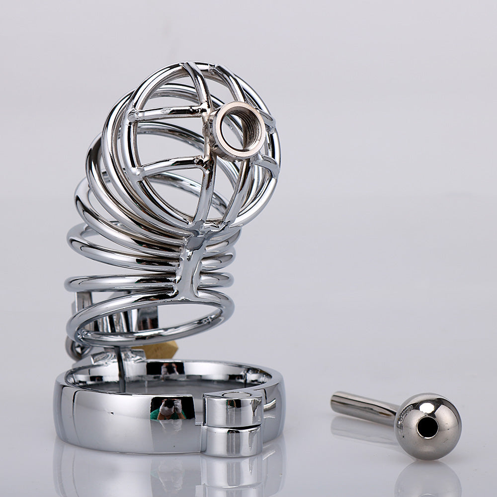RY Stainless Steel Cock Penis Cage Male Chastity Cage Kit with Urethra / Long Edition / 3 Size