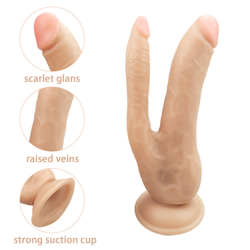 MD Won Realistic Double Ended Dildo with Suction Cup