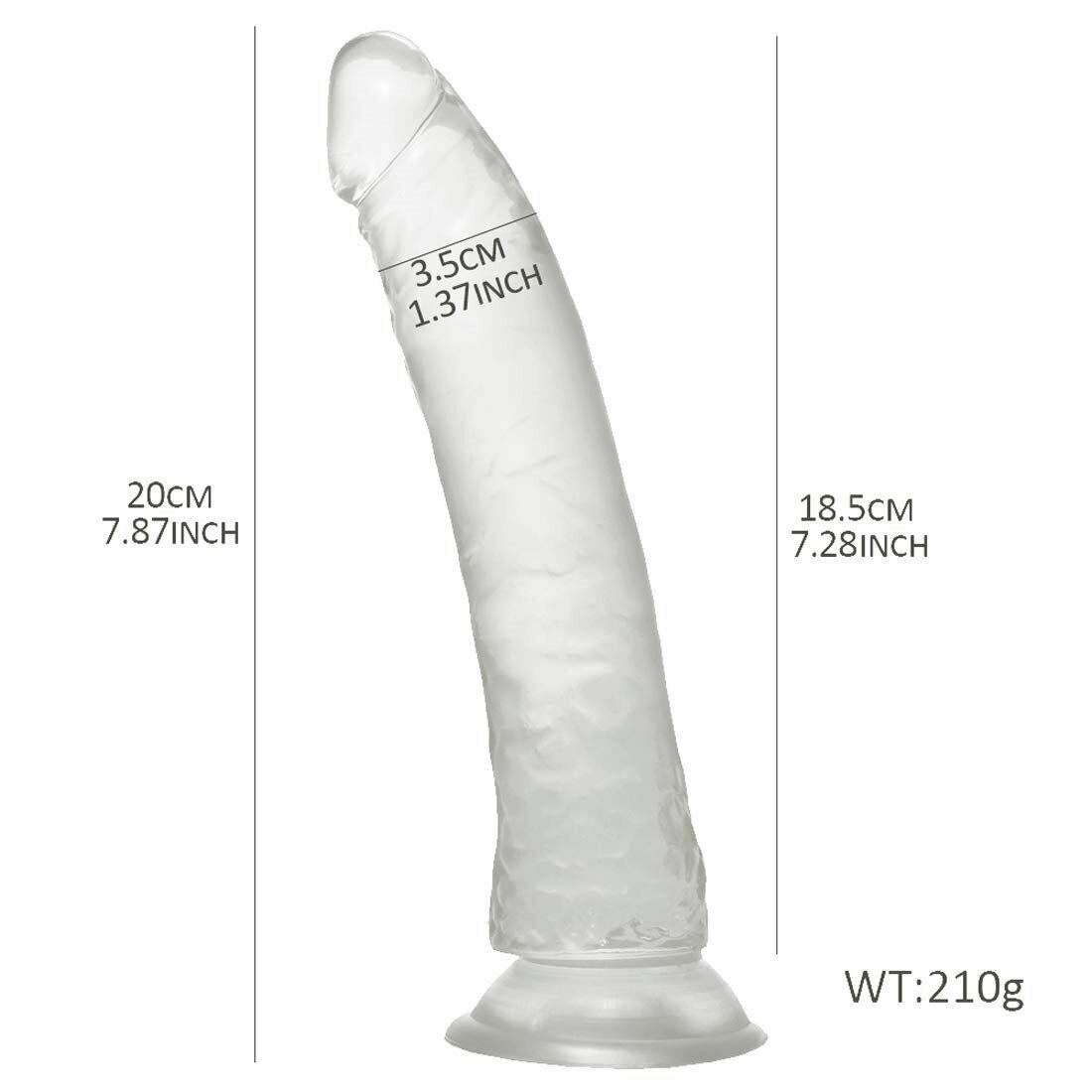 MD 21cm Crystal Dildo Dong Realistic Silicone Penis Cock