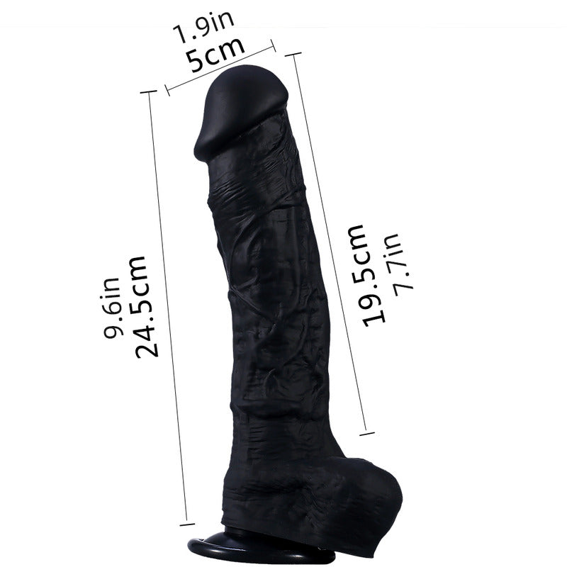 DY Large Silicone Realistic Dildo with Suction Cup - Black