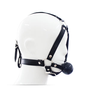 BDSM Leather Head Harness Mask Open Mouth Gag Ball - Black