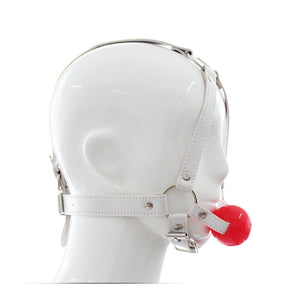 BDSM Leather Head Harness Mask Open Mouth Gag Ball - White&Red