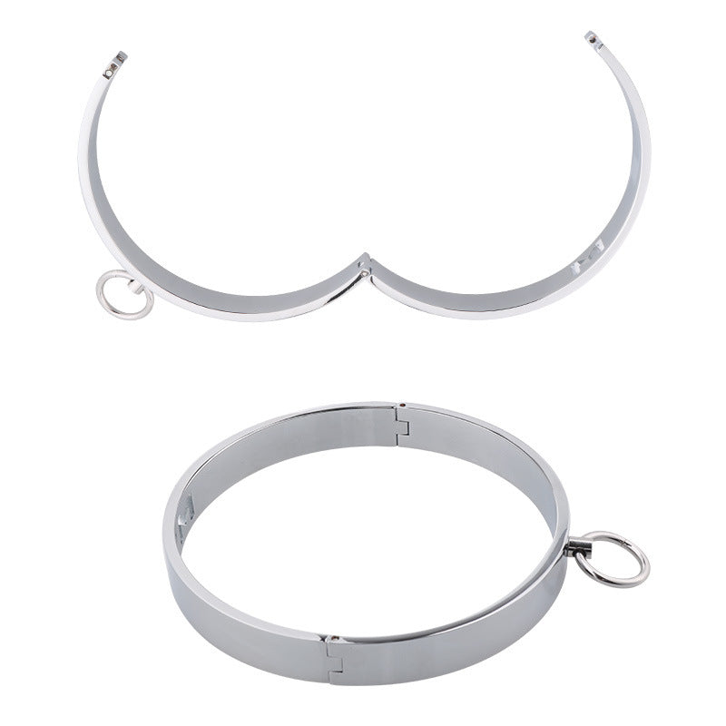 Zinc Alloy Bondage Collar & Leash Metal Chain Fetish Restraints Set