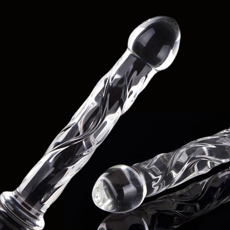 18cm Crystal Glass Dildo Dong Thread Thruster Anal Plug Beads Butt Plug