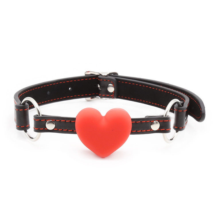 Soft Heart Mouth Gag PU Leather Fetish Toy