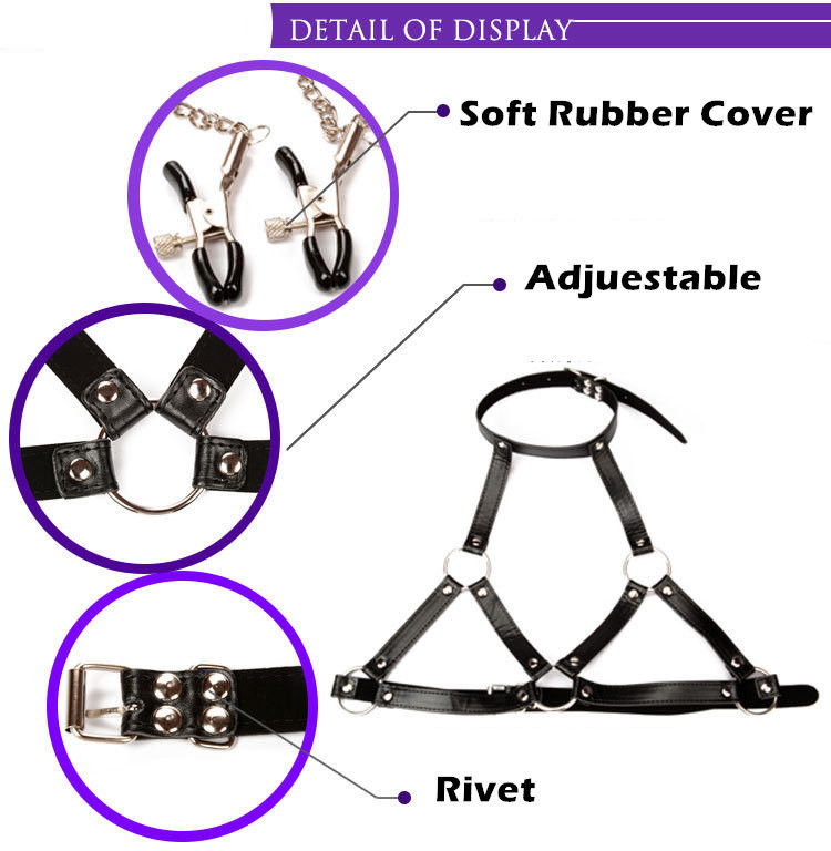 BDSM Bondage Bra & Gag Ring & Nipple Clamps  3 in 1 Fetish Set