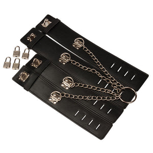 Handcuffs Ankle Cuffs Strap Metal Chain Bondage Set BDSM
