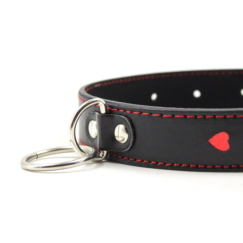 Heart PU Leather Collar and Metal Chain Leash Fetish Toy