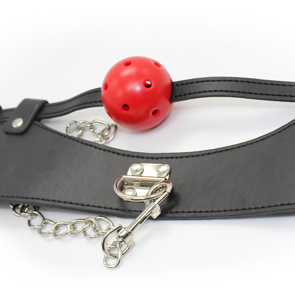 BDSM Fetish Mouth Gag Collar & Metal Chain Leash PU Leather