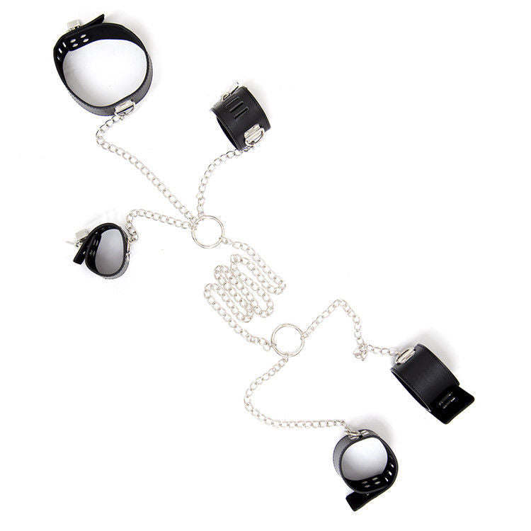 Handcuffs & Ankle Cuffs BDSM & Collar Bondage Restraint Set Metal Chain 3 in 1