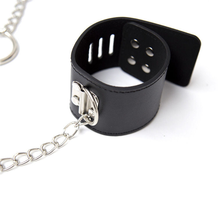 BDSM Bondage Restraint Set Collar & Wrist Cuffs Strap Chain