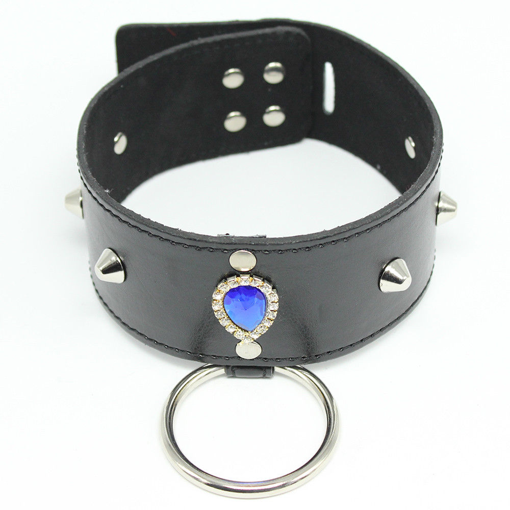 Blue Diamond Bondage Collar & Leash Metal Chain Restraints Set