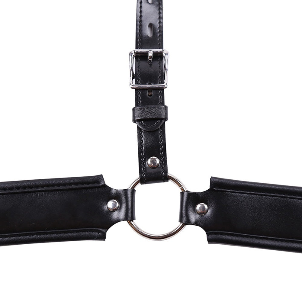 BDSM Faux Leather Male Chastity Belt Cock Cage G String Thong Bondage