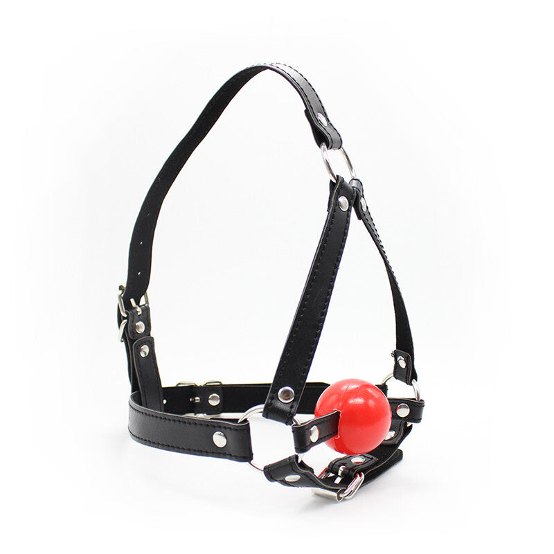 BDSM Ball Gag Head Harness Mask Mouth Open - Black