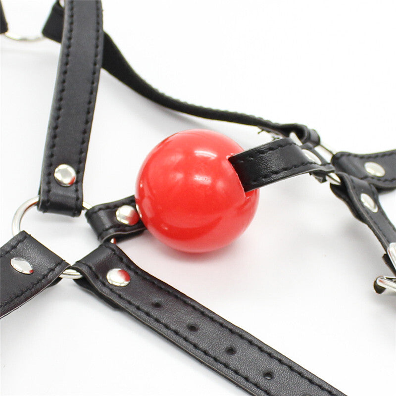 BDSM Ball Gag Head Harness Mask Mouth Open - Black&Red