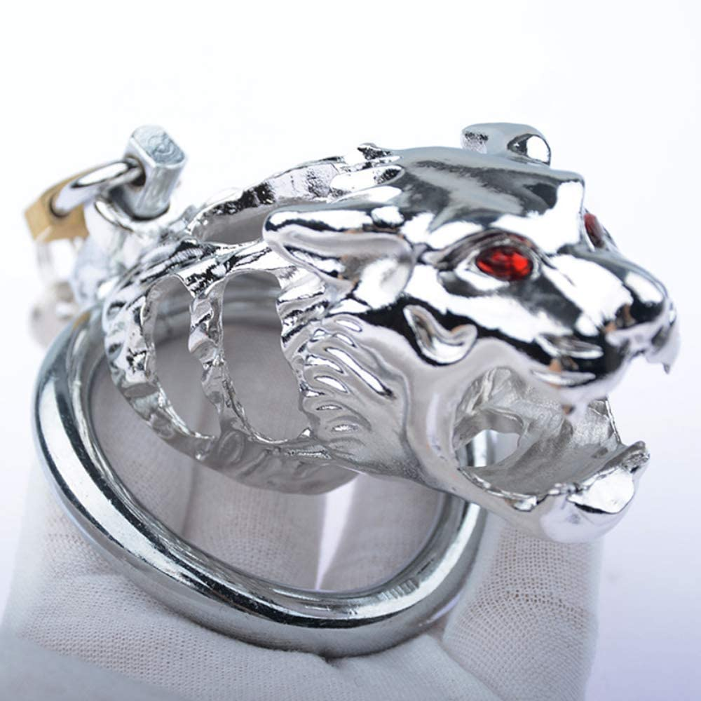 LHD Tiger Head Stainless Steel Male Chastity Cage Penis Cage / 3 Ring Size