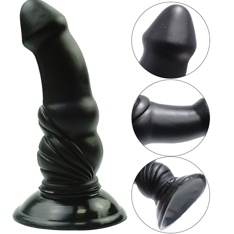 MD Bulleter 17cm Realistic Strap On Dildo & Harness  - Black