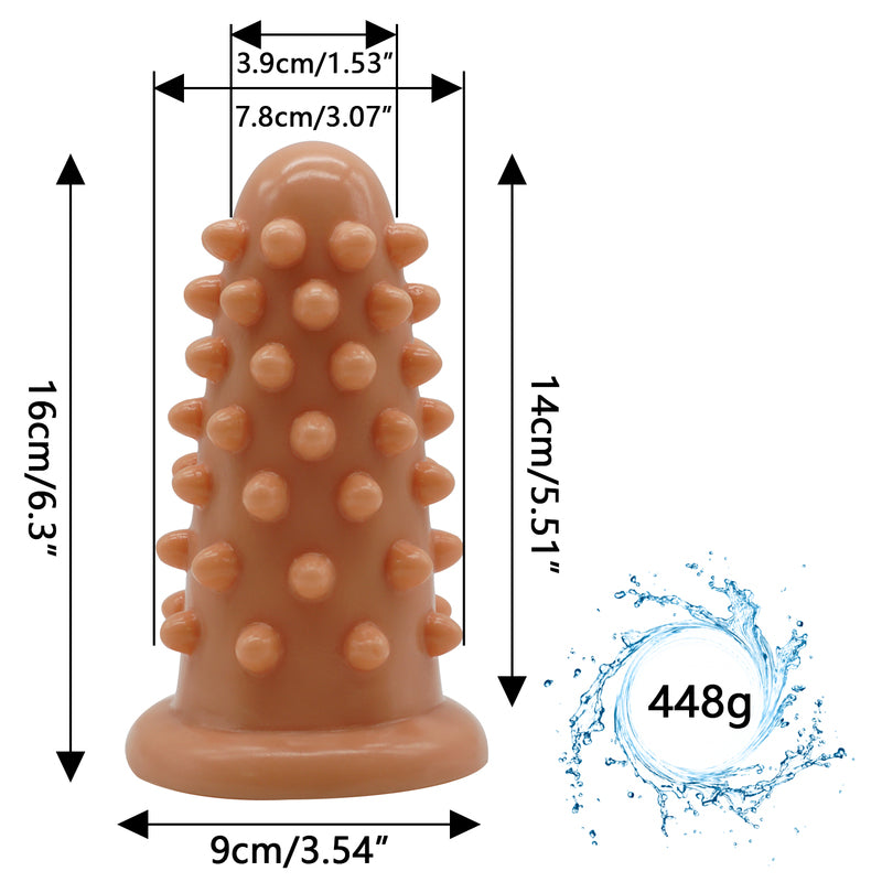 MD Hedgehog Huge Size Silicone Beaded Anal Plug  - Nude