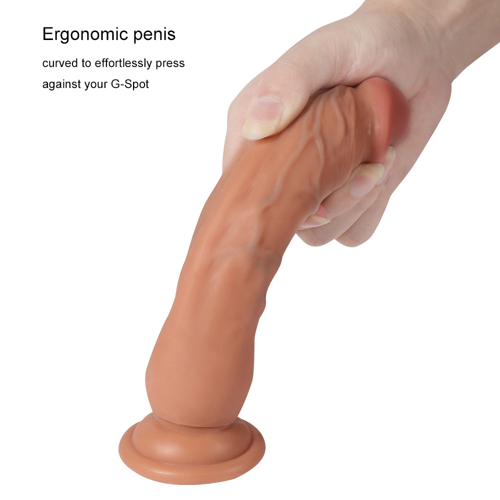 MD 18.5cm Silicone Realistic Dildo Dong Penis Cock with Suction Cup