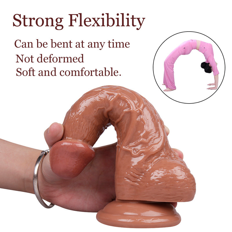 MD BroWing 22cm Crystal Realistic Dildo with Suction Cup -Brown