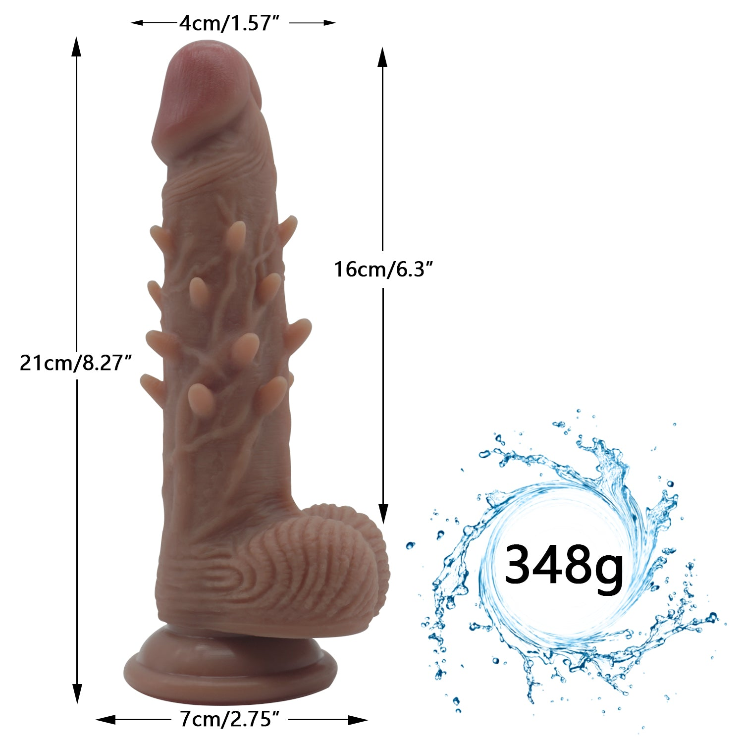 MD Spiked Realistic Silicone Dildo Dong Penis Cock with Suction Cup Flesh & Brown