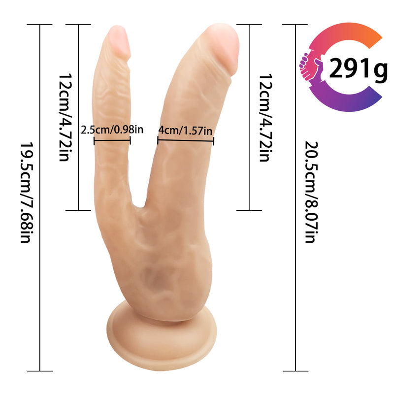 MD Won Realistic Double Penetration Dildo with Suction Cup