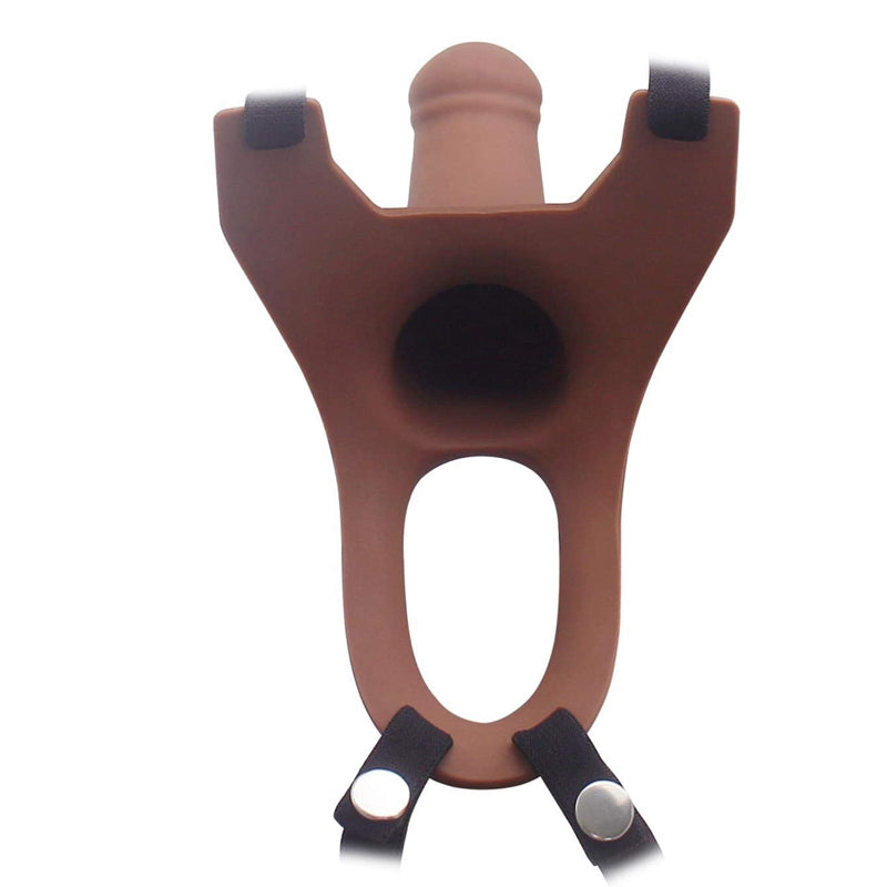 "Aphrodisia Hollow Strap-On Dildo Harness 5.7"" Silicone Penis Sleeve Extender - Brown"